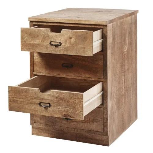 Solid Mango Wood 4 Drawer Kitchen Base Unit Melchior Maisons Du Monde