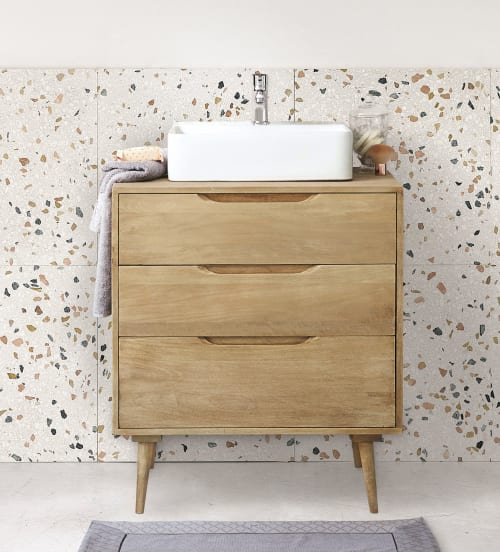 solid mango wood single sink 2 drawer bathroom vanity maisons du monde