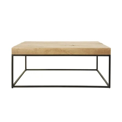 square black metal and solid oak coffee table maisons du monde