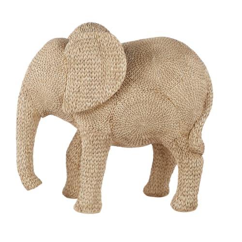 Statue Elephanteau Tressee Beige H70 Maisons Du Monde