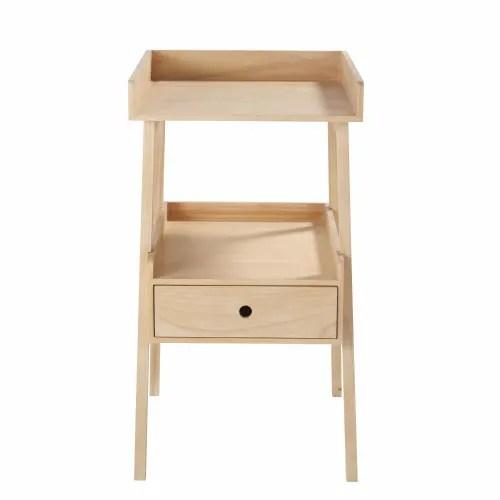 table a langer 1 etagere 1 tiroir en pin maisons du monde