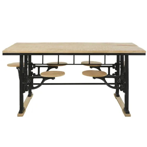 table a manger 8 personnes avec tabourets en manguier et fonte l180 maisons du monde