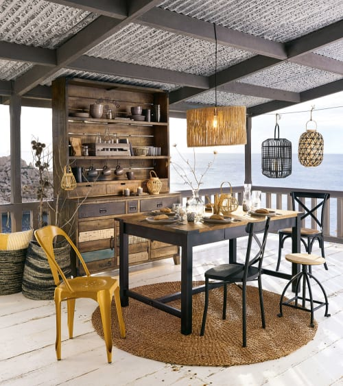table a manger en manguier et metal 8 10 personnes l200 maisons du monde