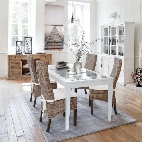 table a manger en pin blanc et verre trempe 8 personnes l180 maisons du monde