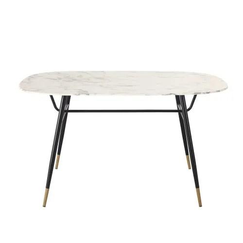 table a manger en verre trempe effet marbre 4 personnes l140 maisons du monde