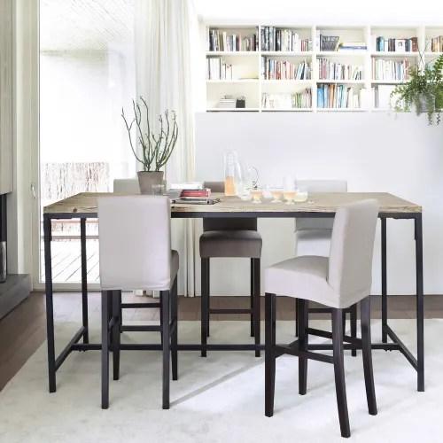 table a manger haute en sapin et metal 10 personnes l210 maisons du monde
