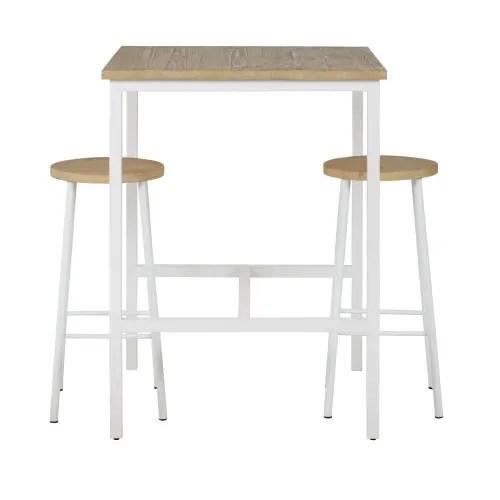 table a manger haute et tabourets x2 en epicea et metal blanc 2 personnes l108 maisons du monde