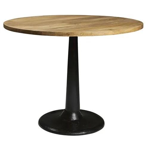 table a manger ronde en manguier et metal 4 6 personnes d115 maisons du monde