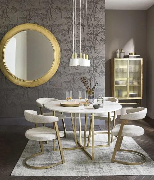 table a manger ronde en marbre blanc 6 7 personnes d130 maisons du monde