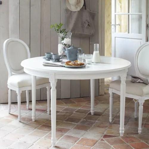 table a manger ronde extensible blanche 4 a 8 personnes l120 200 maisons du monde