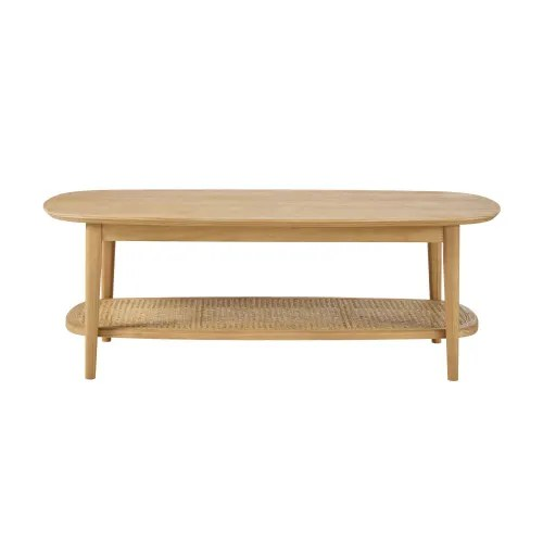 table basse 2 plateaux en pin cannage en rotin maisons du monde