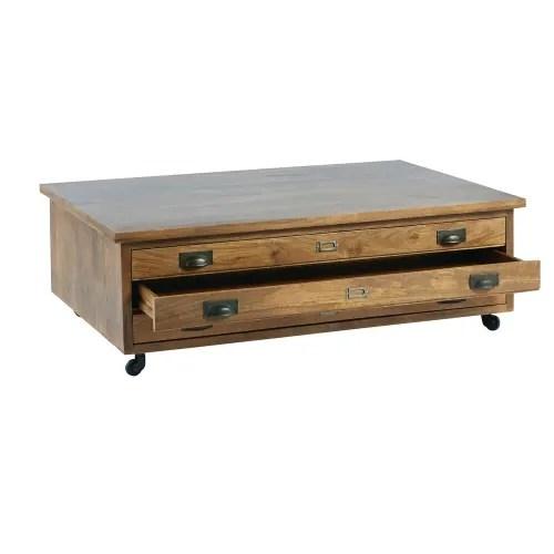 table basse a roulettes 3 tiroirs en manguier massif maisons du monde