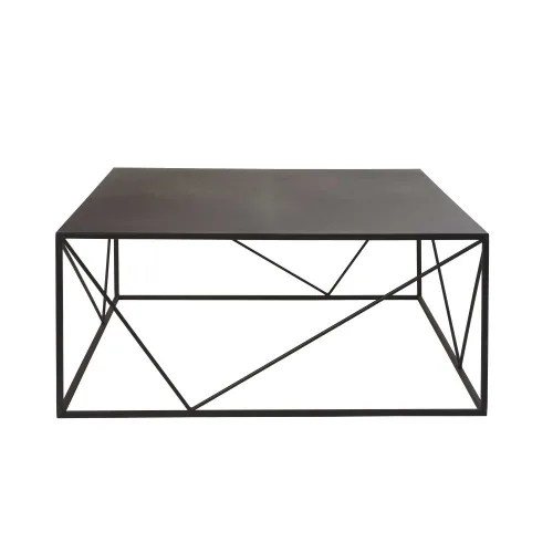table basse carree en metal noir maisons du monde