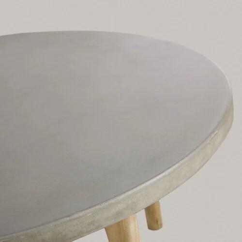 table basse de jardin ronde en beton et acacia massif maisons du monde