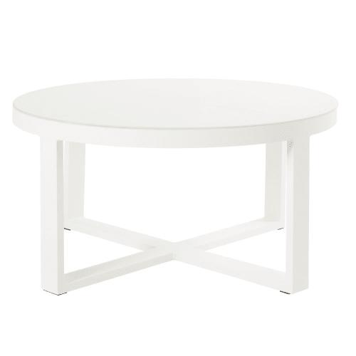 table basse de jardin ronde en metal blanc et verre maisons du monde