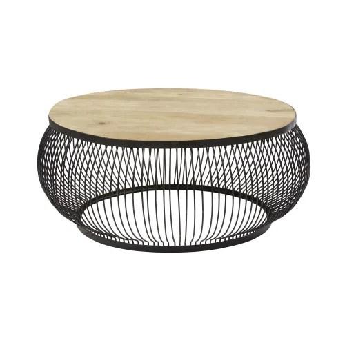 table basse ronde en manguier massif et metal noir maisons du monde