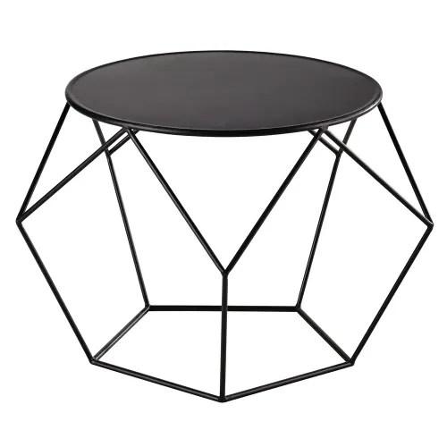 table basse ronde en metal noir maisons du monde