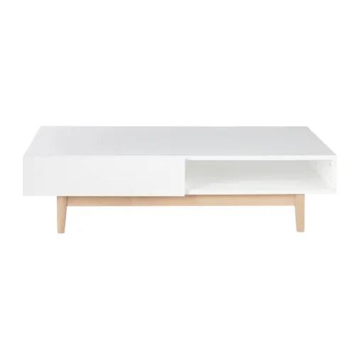 table basse style scandinave 2 tiroirs blanche maisons du monde