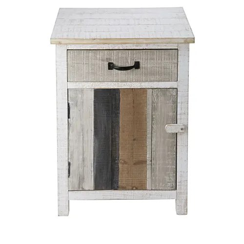 table de chevet 1 porte 1 tiroir en sapin blanchi maisons du monde