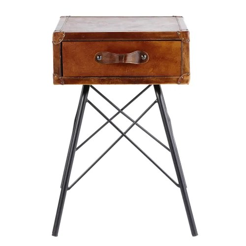 table de chevet 1 tiroir en cuir marron et metal noir maisons du monde