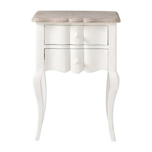table de chevet avec tiroirs en manguier blanche l 48 cm maisons du monde