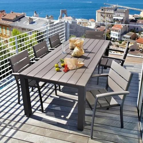 table de jardin 8 10 personnes en aluminium gris anthracite l230 maisons du monde