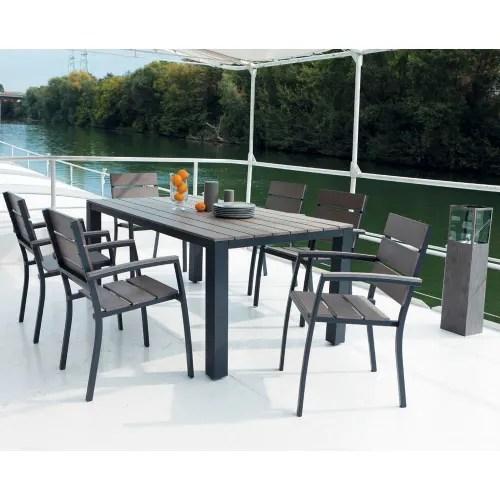 table de jardin en aluminium gris maisons du monde