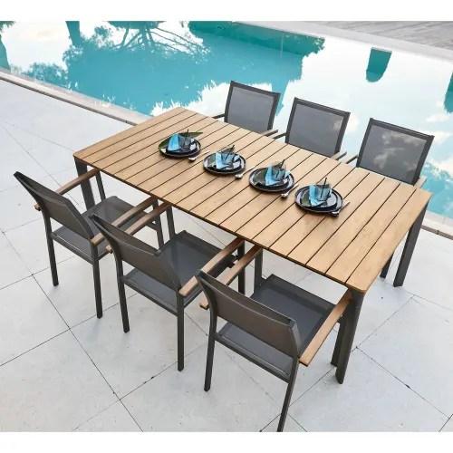 table de jardin en aluminium gris anthracite 6 8 personnes l200 maisons du monde