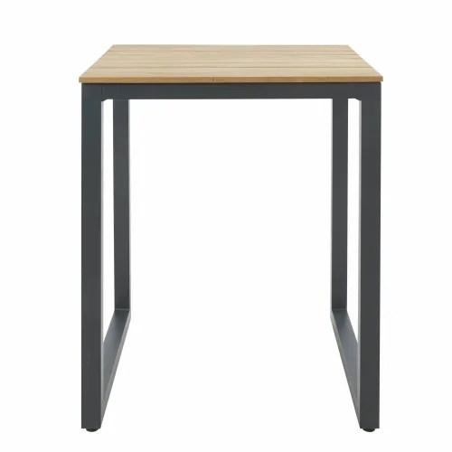 table haute de jardin professionnelle en teck et metal l75 maisons du monde