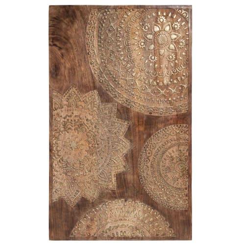 Tableau En Manguier Sculpte Dore 50x82 Mandala Maisons Du Monde