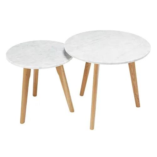 tables gigognes en marbre et chene maisons du monde