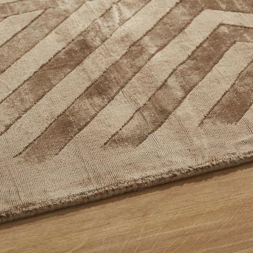 tapis beige et marron motifs graphiques ciseles main 160x230 maisons du monde
