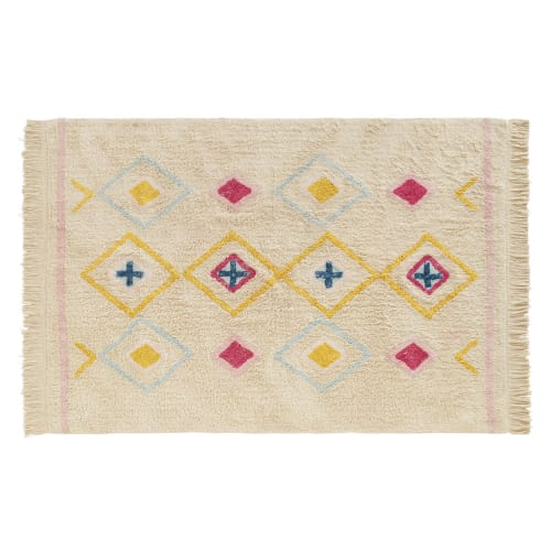tapis berbere en coton blanc a motifs multicolores 120x180 maisons du monde