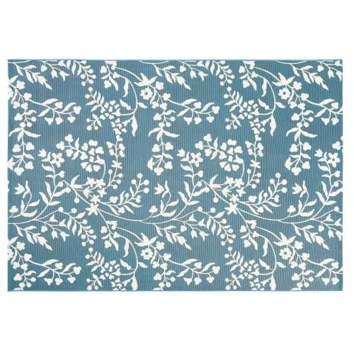 tapis d exterieur bleu canard motif floral blanc 160x230 maisons du monde