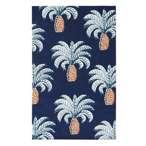 tapis d exterieur en polypropylene bleu nuit imprime palmiers 155x230 maisons du monde