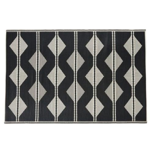 tapis d exterieur reversible en polypropylene ecru et noir motifs triangles 180x270 maisons du monde