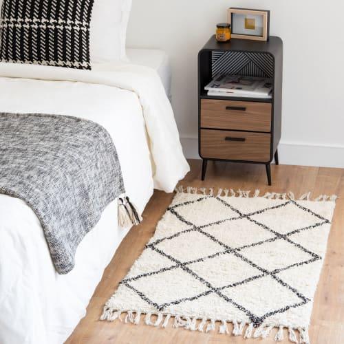 tapis en coton ecru motifs graphiques noirs 60x90 maisons du monde