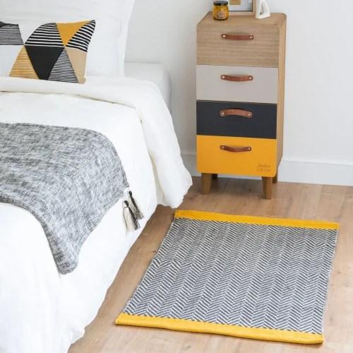 tapis en coton noir blanc et jaune motifs graphiques 60x90 maisons du monde