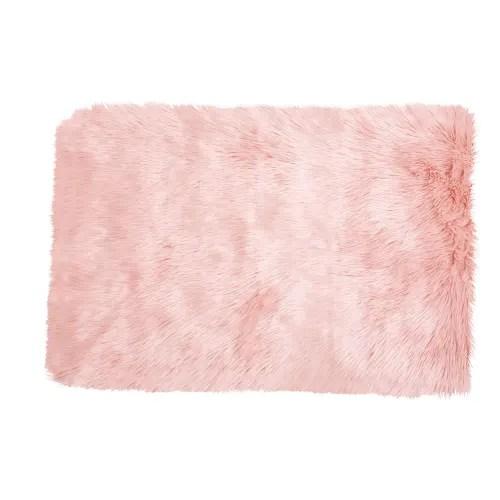 tapis imitation fourrure rose 80x120 maisons du monde