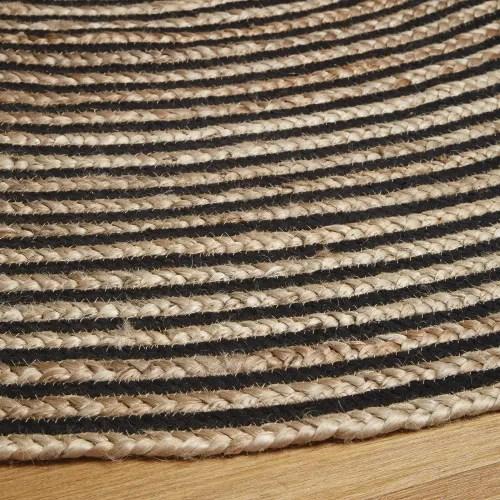 tapis rond fait main en coton et jute tresses noirs d180 maisons du monde