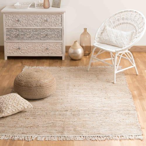 tapis tresse en coton et jute 160 x 230 cm maisons du monde