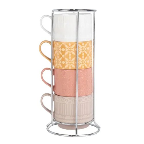 tasses en faience multicolore x4 et support en metal maisons du monde