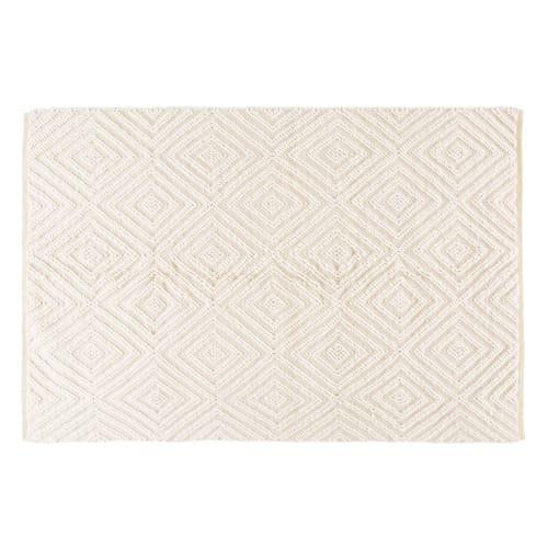 teppich aus wolle und baumwolle ecrufarben mit grafischen motiven 140x200 maisons du monde