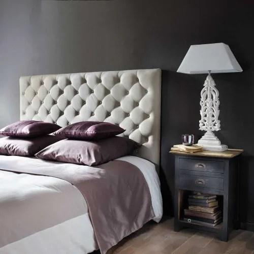 tete de lit capitonnee en lin l 160 cm maisons du monde