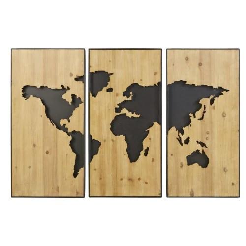 Triptyque En Sapin Sculpte Et Metal Noir 180x120 Territoires Maisons Du Monde