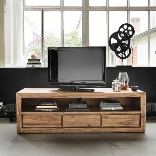 tv lowboard mit 3 schubladen aus massivem akazien und sheeshamholz maisons du monde