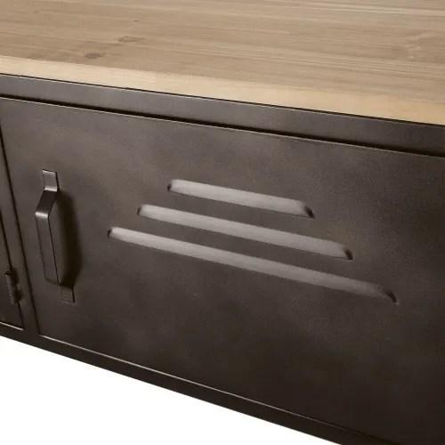 tv mobel mit 3 schiebeturen auf rollen graues metall und massive tanne maisons du monde