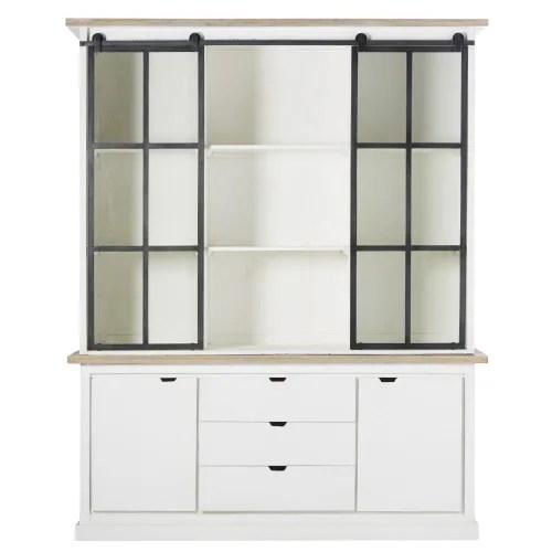 vaisselier 4 portes en manguier massif blanc et verre trempe maisons du monde
