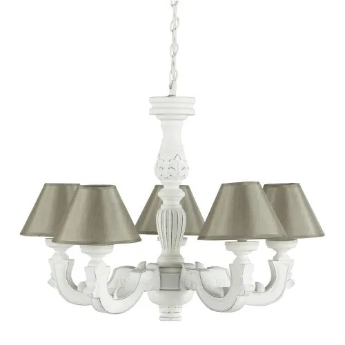 White Chandelier With Aged Effect And Beige Shades Montmartre Maisons Du Monde