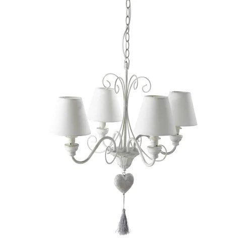 White Metal Chandelier With Aged Effect And Heart Tassel Gabrielle Maisons Du Monde
